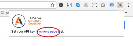 pautan option page extension lazada