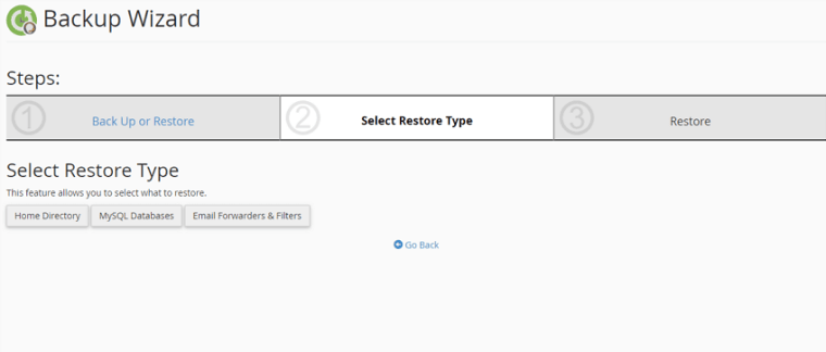 select restore type