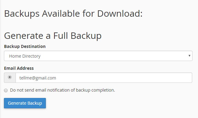 setting full backup