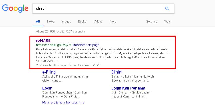ehasil Google Search