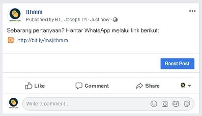 link whatsapp dalam facebook