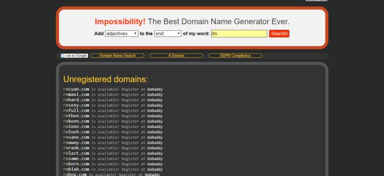 impossibility.org untuk mendapatkan idea nama domain terbaik