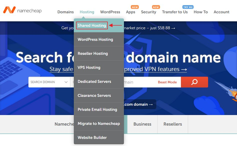 menu shared hosting namecheap