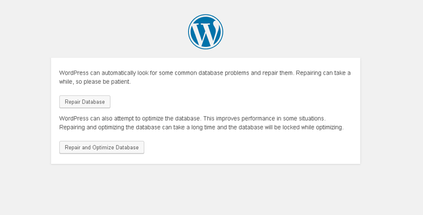 wordpress repair database