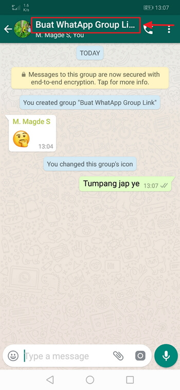 klik nama group whatsapp