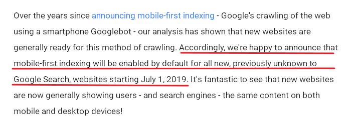 kenyataan google pelancaran mobile-first indexing 1 julai 2019