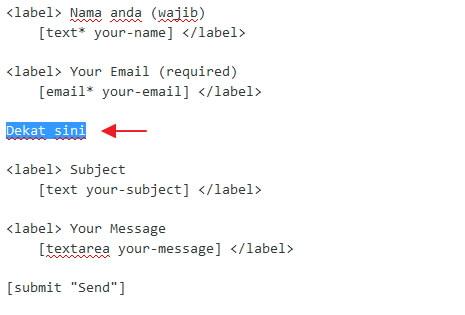 cursor bawah bahagian email