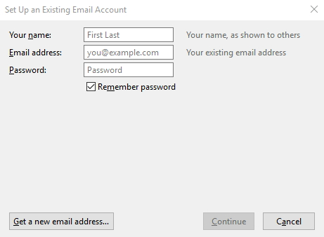 set up existing account