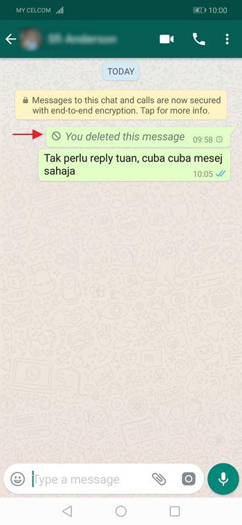 whatsapp berjaya padam penghantar