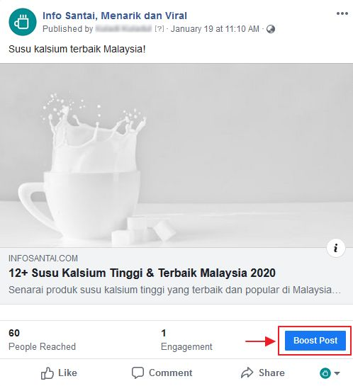 butang boost post dalam post facebook page