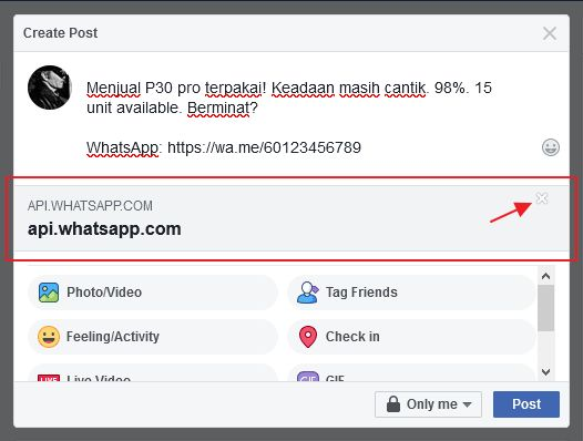 paparan preview whatsapp link dalam facebook post