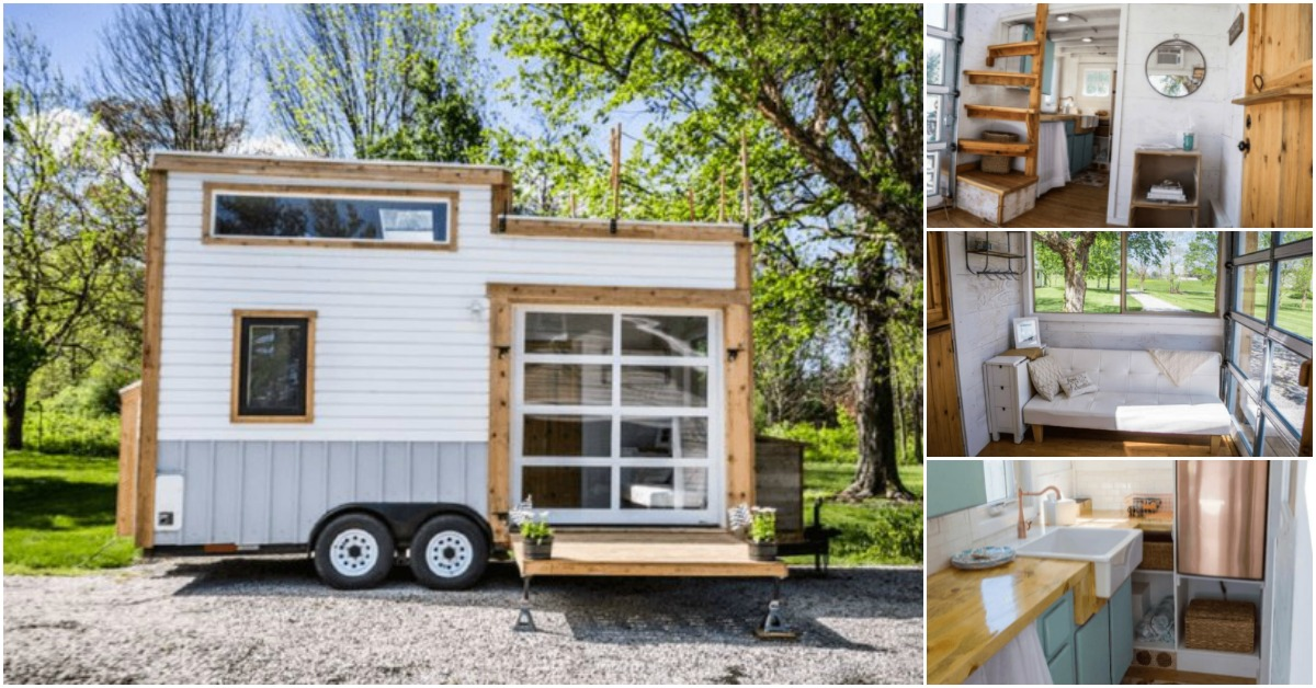 Gorgeous and Trendy 200 Square Foot Tiny House for Sale with a Copper Fridge!