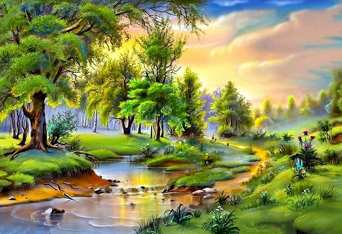 Mahalaxmi Art Nature Painted Landscape Wallpaper Most Beautiful Painting In World 57543 Hd Wallpaper Backgrounds Download