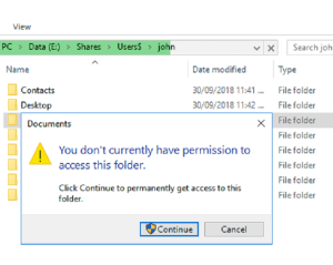 No access to redirected folder