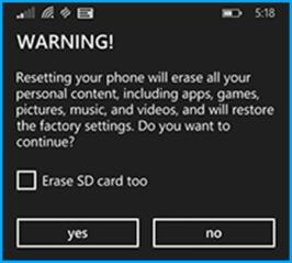 Windows Phone Recovery Tool - Reset Phone Warning