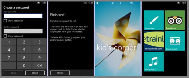 windows phone parental controls kids corner password