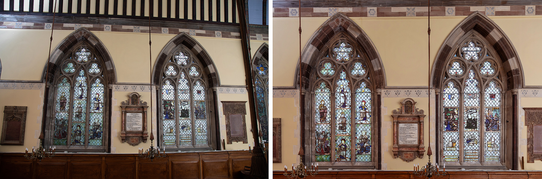 Extreme example of post production perspective control. Camera position was optimal for ensuring chandelier ropes did not cover window but significant post production required to shift windows round and even out exposure across each window.