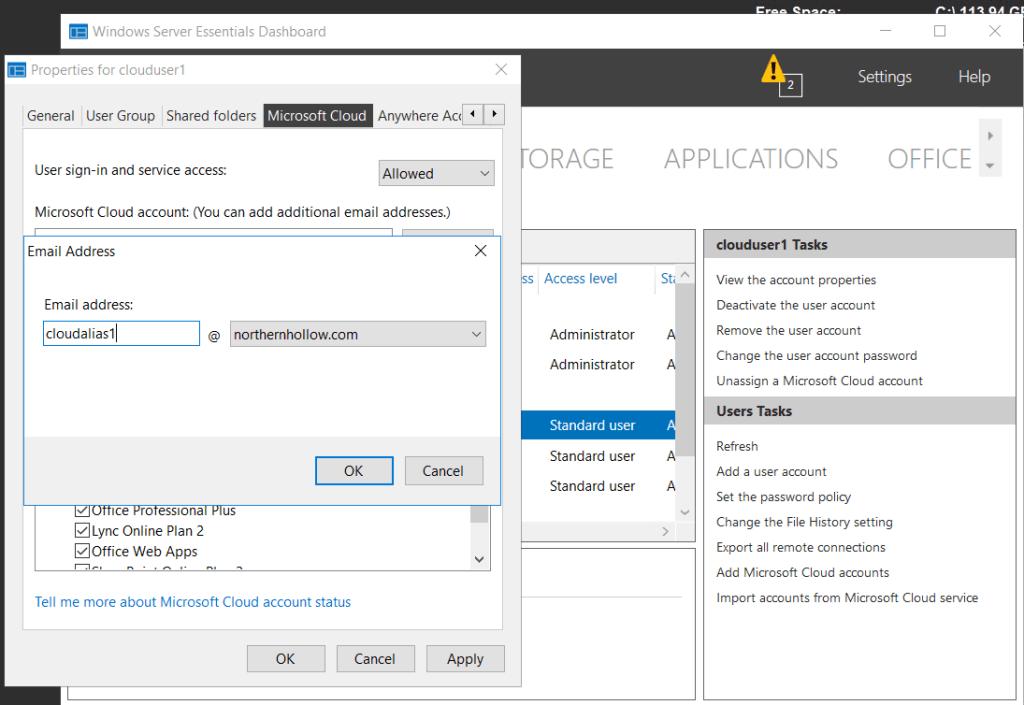 Windows Server 2016 Essentials Experience: Bug with alias