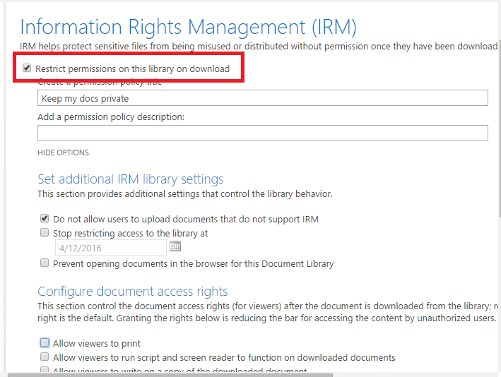 sharepoint preventing downloads