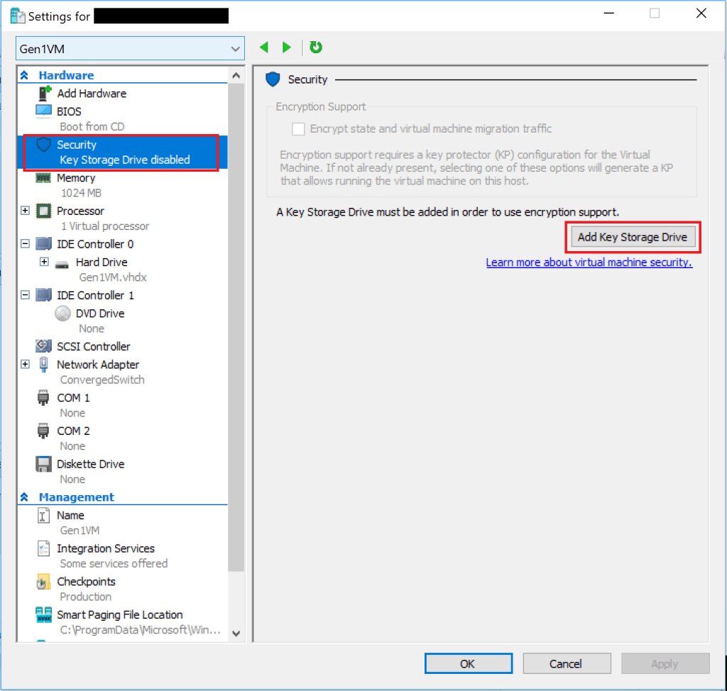 How to Encrypt your Hyper-V Guest VM's using the GUI