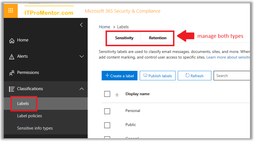 Differences between Azure Information Protection labels and Office