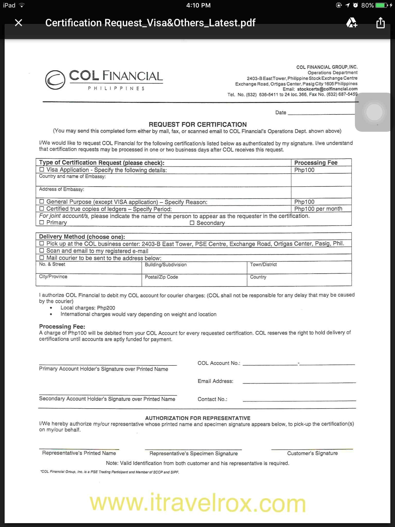 How To Request Stock Certificate From Col Financial Philippines