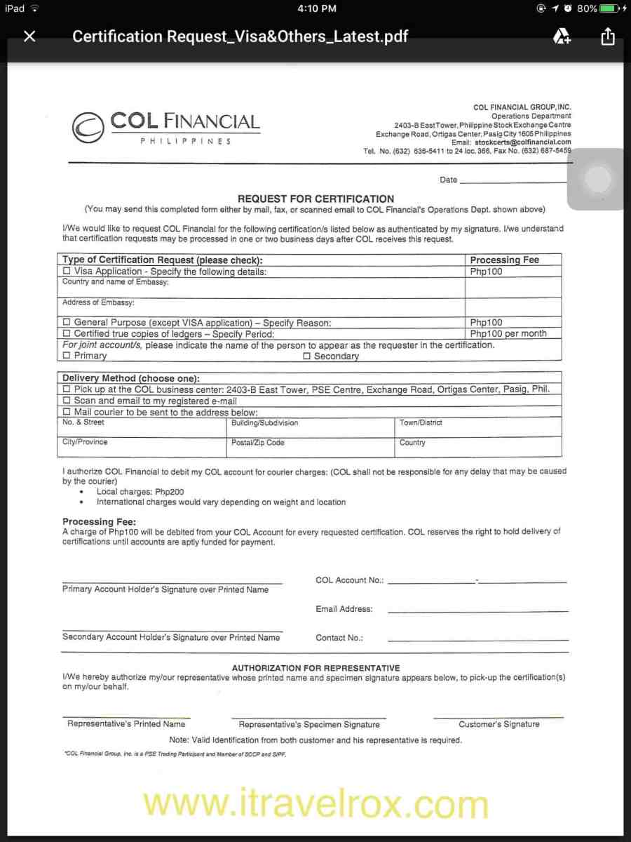 How to Request Stock Certificate from COL Financial Philippines for Visa Application?