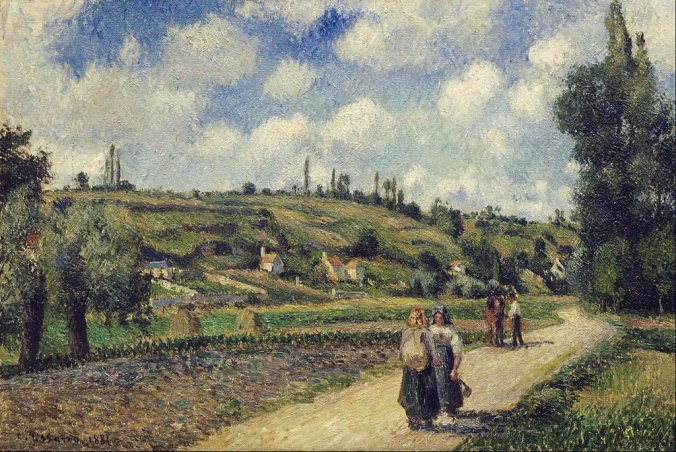 Camille Pissarro paintings - Landscape near Pontoise, the Auvers Road, 1881