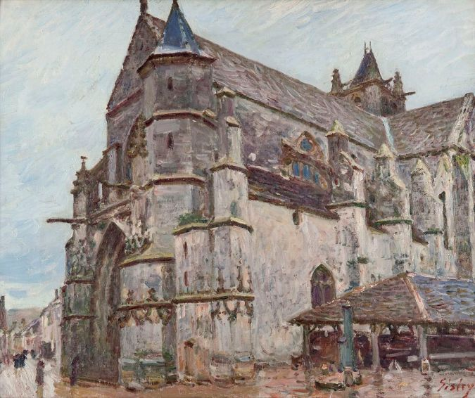Notre Dame Church in Moret-sur-Loing, Alfred Sisley Painting