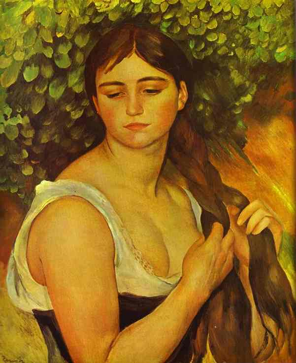 Girl Braiding Her Hair - Portrait of Suzanne Validon by Pierre Auguste Renoir