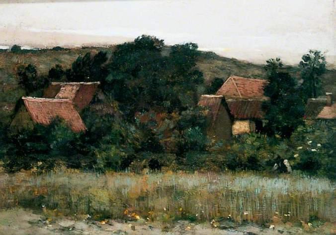 Marie Cazin Plein-Air Landscape, Village among Trees