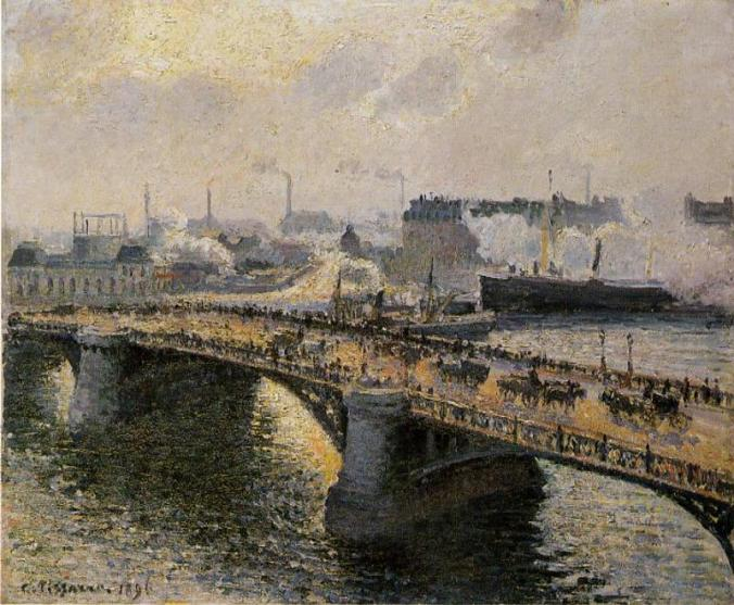 One of Camille Pissarro Paintings of The Boieldieu Bridge, Rouen