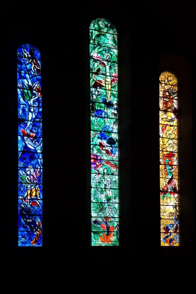 Three stained-glass windows designed by Chagall in the Fraumunster Church, Zurich