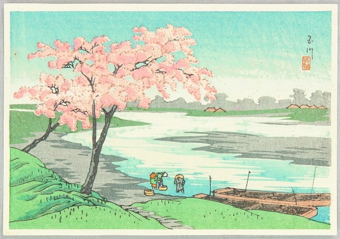 Ukiyo-e print depicting a cherry blossom tree by a river. Print by  Takahashi Hiroaki