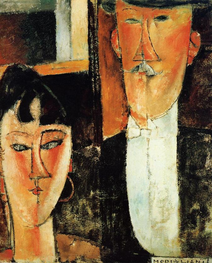 Amedeo Modigliani Paintings - Bride and Groom