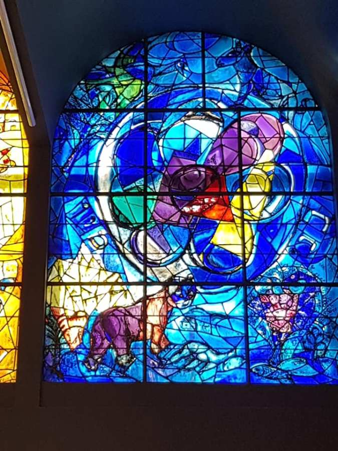 One of the twelve Chagall Windows, Abbell Synagogue Jerusalem