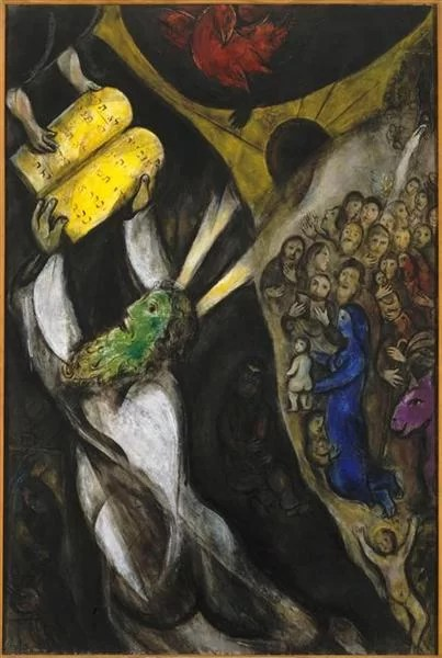 Chagall Paintings - Moses receiving the 10 commandments