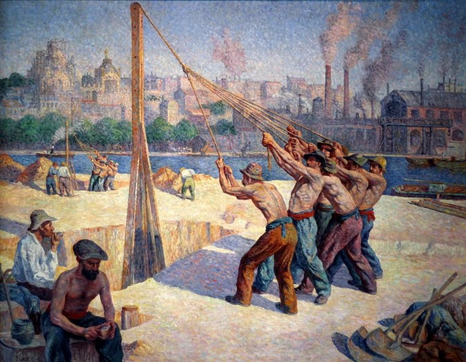 Maximilien Luce Painting - Builders -Neo-Impressionism Style
