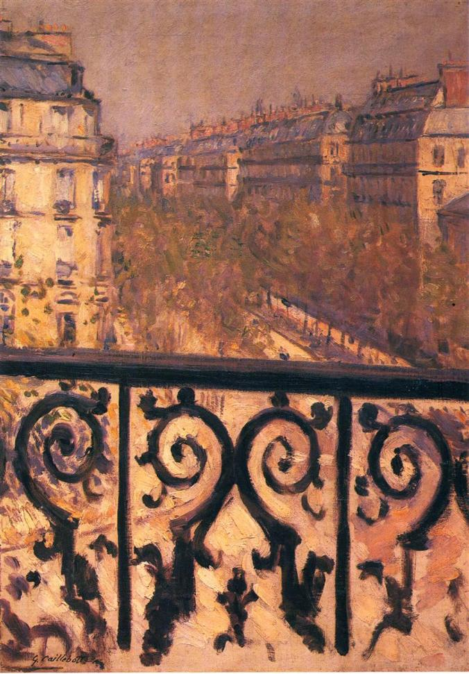 A Balcony in Paris - Caillebotte Painting