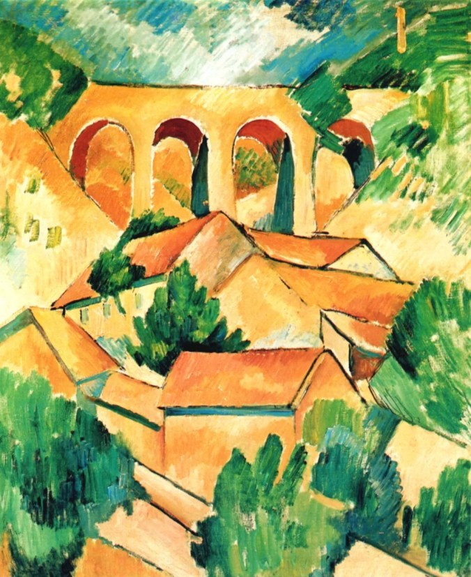 Georges Braque - cubism style painting of L'Estaque Viaduct