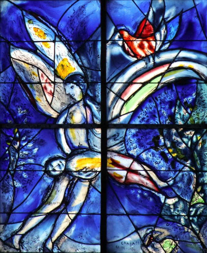Close up detail of one of the  Marc Chagall stained-glass windows