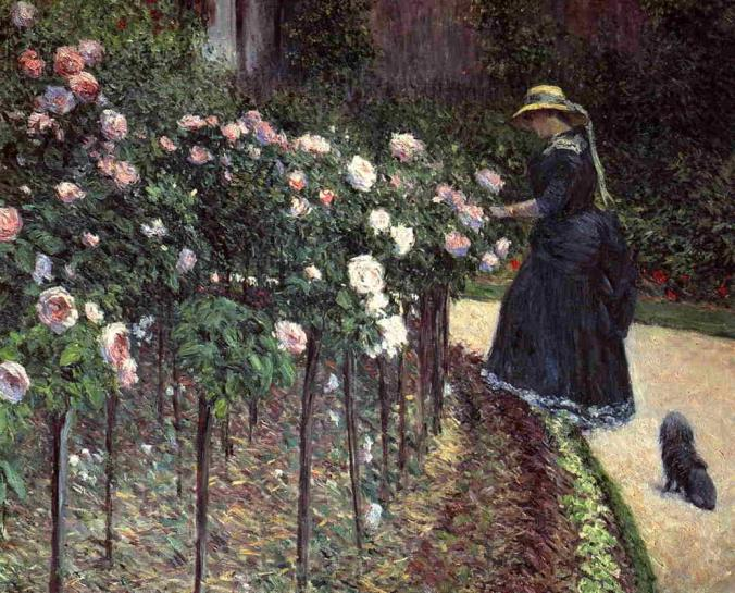 Roses in the Garden at Petit-Gennevilliers - Caillebotte Painting  - Impressionism style