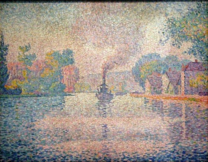 L'Hirondelle Steamer on the Seine  by Paul Signac - Pointillism art