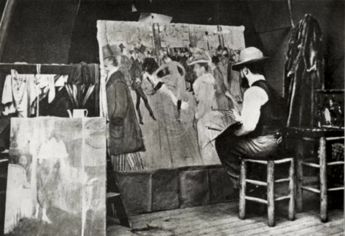 "Toulouse Lautrec, 1890, in his studio in Montmartre, working on ""Moulin Rouge"""