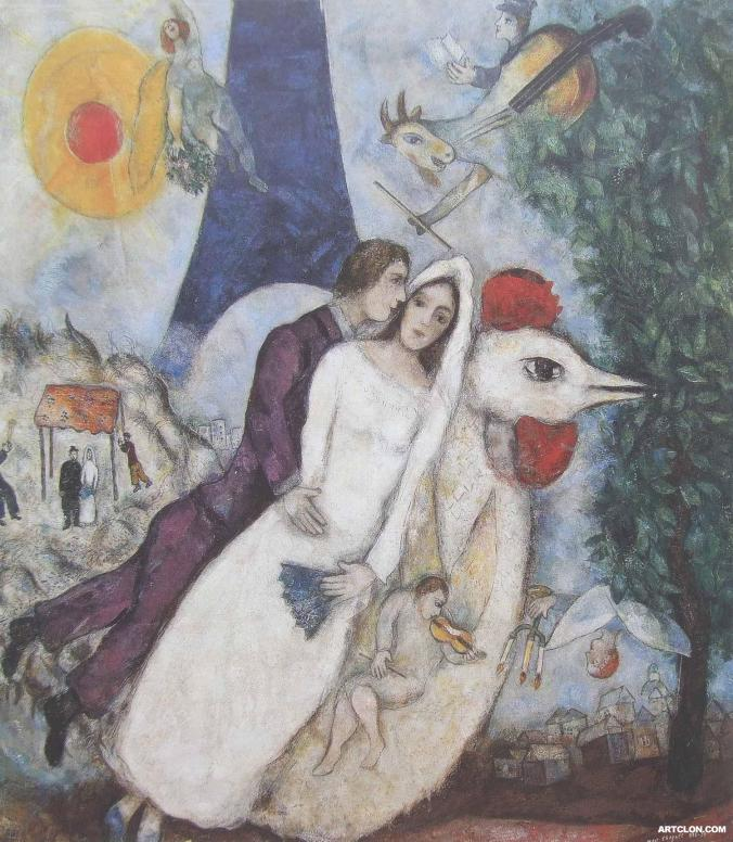 Marc Chagall painting of a bride & groom