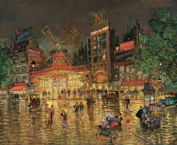 Moulin Rouge, Paris - Painting by Konstantin Korovin Russian Impressionist painter