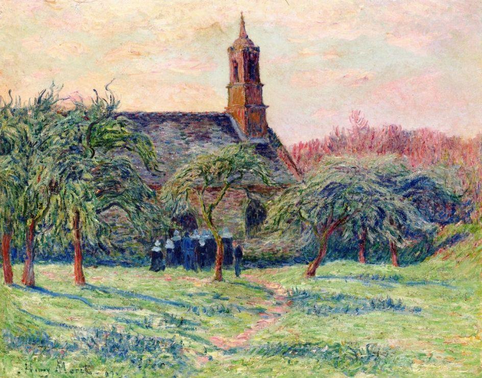 Church in Clohars, Pont-Aven by Henri Moret