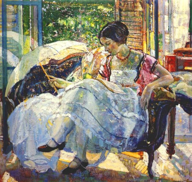 Richard Emil Miller Painting- Lady reading