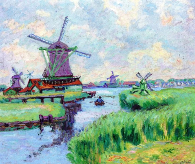 Windmills in Holland -  Painting by the Impressionism Artist Armand Guillaumin