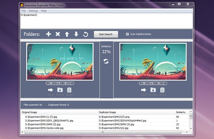 Сравнение изображений в Awesome Duplicate Photo Finder